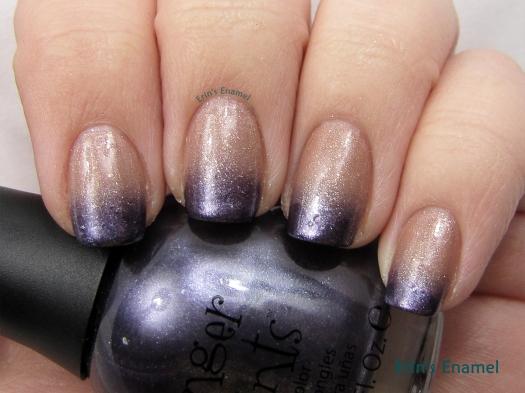 FingerPaints Bare No Secrets + A Grape Catch gradient - Erin's Enamel